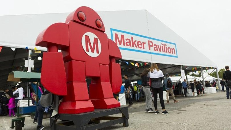 A big statue of makerfaire character on the maker festival